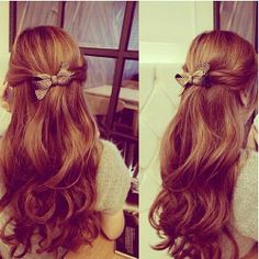 10 Quick Easy and Best Romantic Summer Date Night Hairstyles loose wavy half up and half down hairstyle with brown-hair extensions Night Hairstyles, Down Hairstyles, Pretty Hairstyles, Style Hairstyle, Summer Hairstyles, Quick Easy Hairstyles, Braided Hairstyles, Romantic Hairstyles, Date Night Hair