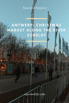 Antwerp Belgium Kerstmarkt Stalls Along River Scheldt