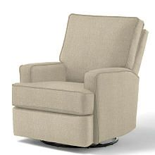 Best Chairs Kersey Upholstered Swivel Glider Recliner  Stone