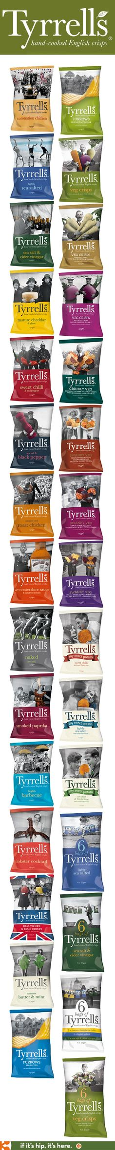 All of Tyrrell's snack products have great packaging. These are just their crips (chips).