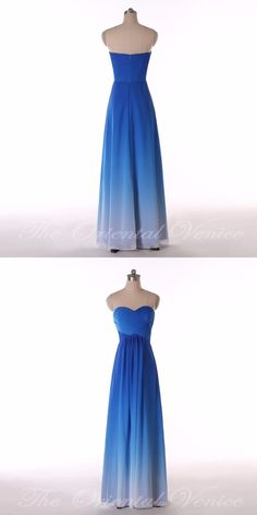 Stock 2017 Hot Sale Ombre Blue Bridesmaid Dresses Sweetheart Pleat Chiffon  Beach Bridesmaid Dress Long Wedding 44358a4fd114