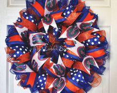 UF Gator Football Wreath- Gator Door Decor by MrsLanderBoutique on Etsy Summer Wreath, 4th Of July Wreath, Uf Gator, Florida Gators, Mermaid Sign, Nautical Wreath, Sports Wreaths, Football Wreath, Deco Mesh Wreaths
