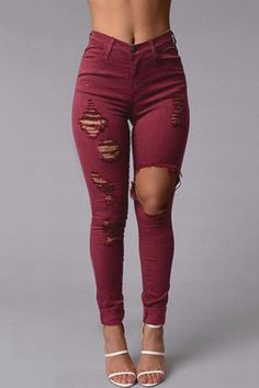 Burgundy Boyfriend Style High Waist Ripped Jeans - US$23.95 -YOINS