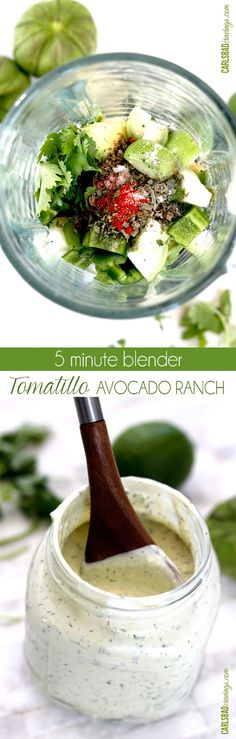 I put this on EVERYTHING! Tastes like its from a restaurant but so easy. Its like creamy ranch with a Mexican flair added by the avocado, tomatillo, jalapeno, garlic, cilantro, lime and smoked paprika