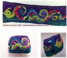 Embellished crochet bracelet.  Free pattern.  Very pretty!