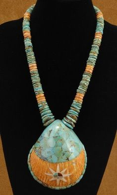 Very Large Spiny Oyster Shell & #Turquoise Inlay Santo Domingo Style Pendant Necklace $488.00 #Alltribes #Jewelry