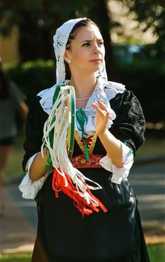 An Italian girl in folk costume in Southern Italy. Image by Sukrit Shankar
