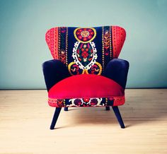 Patchwork armchair with Suzani, Thai Hmong and velvet fabrics - Summer from name design studio. Saved to home decor. Funky Chairs, Cool Chairs, Funky Furniture, Unique Furniture, Painted Furniture, Patchwork Chair, Upholstered Furniture, Sofa Chair, Decoration
