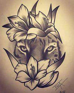 Pin by Mishee Mercier On Art in flower crown drawing Flower Crown Tiger Drawing Tiger and Flowers Drawing Tiger Flowers Tigerandflowers Natur Tattoos, Kunst Tattoos, Tatuajes Tattoos, Bild Tattoos, Badass Tattoos, Cute Tattoos, Unique Tattoos, Body Art Tattoos, Sleeve Tattoos