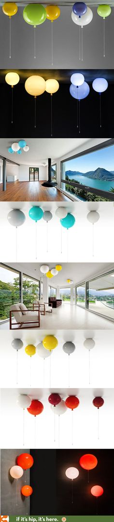 Glass Balloon Lights for ceiling or wall come in 8 colors with an on/off switch at the bottom of the string.