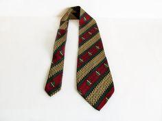Silk necktie wine red green gold bold pattern by vintageview1, $14.00