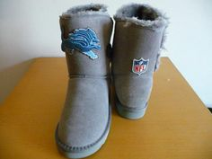 Women Grey Waterproof Winter Mid-calf Flat Snow Boot for NFL Detroit Lions Fanatic (5 B(M) US)