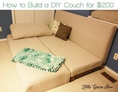 How to Build a Couch that Converts to a Bed for $200. Learn how at LittleGreenBow.com