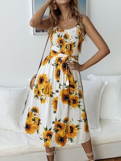 New Womens Plus Floral Trim Print Strappy Flared Swing Vest Ladies T-Dress Top