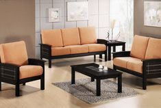 black wooden sofa set with peach fabric of seats