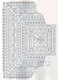Transcendent Crochet a Solid Granny Square Ideas. Inconceivable Crochet a Solid Granny Square Ideas. Crochet Doily Diagram, Crochet Mandala Pattern, Crochet Blocks, Granny Square Crochet Pattern, Crochet Stitches Patterns, Crochet Chart, Crochet Squares, Thread Crochet, Crochet Granny