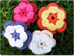 Syslemoster: Hæklede blomster, opskrift. Tutorial in danish