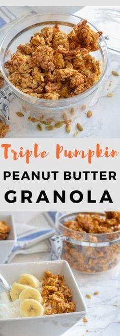 pumpkin granola, triple pumpkin, pumpkin peanut butter granola Source by bucketlisttummy Baked Pumpkin, Pumpkin Recipes, Fall Recipes, Whole Food Recipes, Snack Recipes, Pumpkin Pumpkin, Brunch Recipes, Healthy Recipes, Breakfast Recipes