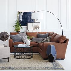 Arhaus Brentwood Leather sectional can come in many configurations. Living Room Redo, Living Room Goals, Living Room Sectional, Living Area, Living Rooms, Living Spaces, Leather Sectional, Small Space Living, Contemporary Rugs