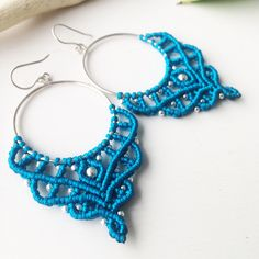 A personal favorite from my Etsy shop https://www.etsy.com/listing/533121222/sterling-silver-macrame-earrings-diy