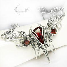 ARNARGNAH - silver , red quartz , garnet. by LUNARIEEN.deviantart.com on @deviantART