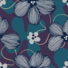 Vector Seamless Pattern With Colour Abstract Flowers by Tanya Akhmetgalieva Seamless Repeat Vector Exclusive Pattern