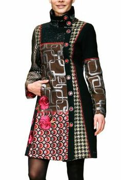 Desigual women's Dasha coat. The mixture of fabrics, textures and colours in this coat really stand out. Houndstooth on trend for Xl Fashion, Fashion Outfits, Fashion Design Classes, Couture, Colorful Fashion, Beautiful Outfits, Designer Dresses, Ready To Wear, Clothes For Women