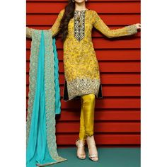 Olive Green Embroidered Chiffon Dress Contact: (702) 751-3523 Email: info@pakrobe.com Skype: PakRobe