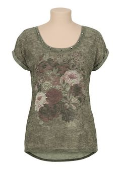 High-Low Floral Screen Print Tee available at #Maurices