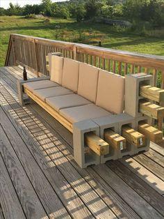 New Outdoor Patio Furniture Cushions Cinder Blocks Ideas Backyard Seating, Fire Pit Backyard, Outdoor Seating, Backyard Patio, Backyard Landscaping, Nice Backyard, Cinder Block Furniture, Cinder Block Bench, Cinder Block Ideas