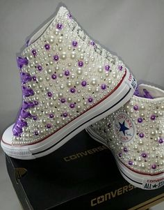 a63c30e789eb Bridal Converse- Wedding Converse- Bling   Pearls Custom Converse Sneakers-  Personalized Chuck Taylors. Etsy