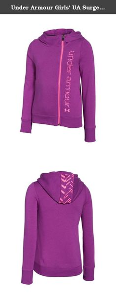 Under Armour Girls' UA Surge Full Zip Hoodie Medium / 10-12 Big Kids STROBE. Unique Charged Cotton® fleece is our softest, most comfortable fabric yet. Soft, brushed interior traps heat to keep you warm without the bulk. Signature Moisture Transport System wicks sweat so it dries faster than ordinary cotton. Asymmetrical front zip with slouchy 3-piece hood for extra warmth and coverage. Ribbed cuffs and hem. UNDER ARMOUR front graphic with hood graphic detail. Cotton/Polyester. Imported.