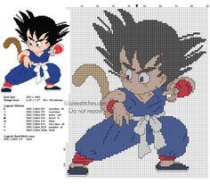 Cross stitch pattern Goku Kid from Dragon Ball 1 anime