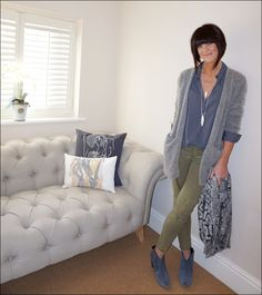 My Midlife Fashion, Olia Jewellery Feather Necklace, American Vintage shirt, H&M Mohair cardigan, hush snake cashmere shawl, zara combat trousers, hush thornton ankle boots