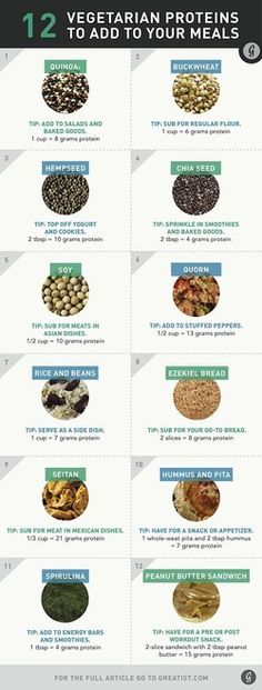 12 Vegetarian Proteins to Add to Your Meals - NutriLiving Infographics