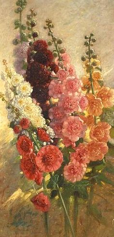 Charles Coleman  Hollyhocks  19th century