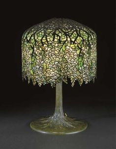"Tiffany Studios, New York, Favrile Leaded Glass and Patinated Bronze ""Wisteria"" Lamp. Unusual Lamps, Lamp, Art Decor, Lights, Glass, Leaded Glass, Glass Design, Stained Glass Lamps, Tiffany Inspired Lighting"