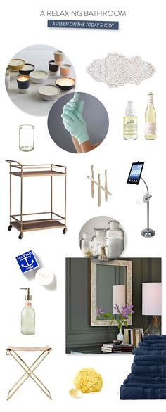 The Today Show Shopping Guide: Tips on Relaxing at Home in the BATHROOM! If you missed it on the Today show, see it on SMP Living: http://www.stylemepretty.com/living/2013/11/18/the-today-show-shopping-guide-tips-on-relaxing-at-home/