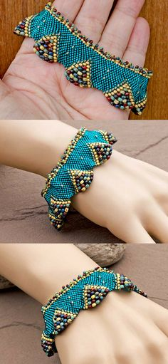 Lindy Lee Treasures - Breathtaking! Shimmering Turquoise 3D Wave Beadwork Cuff.