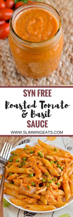 Slimming Eats Syn Free Roasted Tomato and Basil Sauce - gluten free dairy free v. - Slimming Eats Syn Free Roasted Tomato and Basil Sauce – gluten free dairy free vegetarian Slimmin - Slimming World Dinners, Slimming World Recipes Syn Free, Slimming Eats, Slimming World Syns, Slimming World Curry, Slimming World Pasta Bake, Slimming World Lunch Ideas, Slimming World Diet Plan, Slimming Word