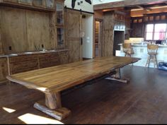 13' burr oak table. Handmade by Texas Hill Country Furniture in Lipan, TX
