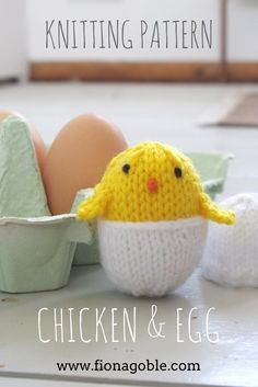 A knitting pattern for a cute knitted chicken that tucks inside its own knitted egg. Worked in DK/light worsted/8ply yarn. Available as an instant knitting pattern download in my Etsy store.