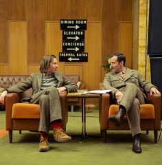 Wes Anderson and Jude Law on the set of The Grand Budapest Hotel.