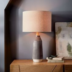Roar + Rabbit Ripple Ceramic Table Lamp - Large Narrow (Warm Gray) | west elm. Living room?