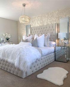 Grey Bedroom Decor, Bedroom Decor For Teen Girls, Girl Bedroom Designs, Stylish Bedroom, Room Ideas Bedroom, Rich Girl Bedroom, Glam Bedroom, Couple Bedroom, Bedroom Styles
