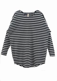 Black Striped Round Neck Bat Sleeve Cotton T-Shirt