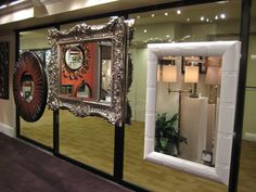 High Point Market, (middle) Electric Platinum finish, Wyndemre Collection (right) High Gloss White Bamboo Feiss, mirrors. High Point Market, High Gloss, Mirrors, Bamboo, Electric, Middle, It Is Finished, Frame, Collection