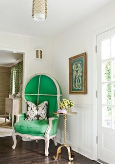 Gorgeous green chair | More colourful lusciousness here: http://mylusciouslife.com/photo-galleries/a-colourful-life-colours-patterns-and-textiles/