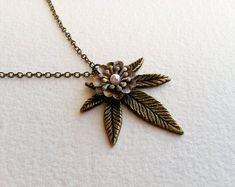 Marijuana Necklace Brass Bronze Victorian Steampunk  - marijuana necklace, steampunk cannabis accessories, marijuana jewelry, ganja on Etsy, $30.00
