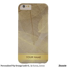 Personalized Vip Grungy Leafs Gold Stripes Case Barely There iPhone 6 Plus Case
